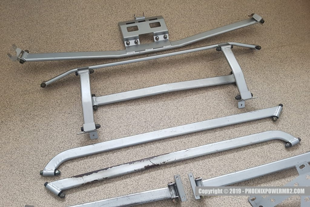phoenix power garage fukui chassis bracing stiffener system roll cage mr2 sw20
